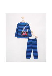 Pijama Infantil Carrinho Listrado Manga Longa Brandili Azul