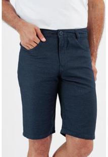 Bermuda Jeans Maquinetado Slim 5 Bolsos Masculino - Masculino-Marinho
