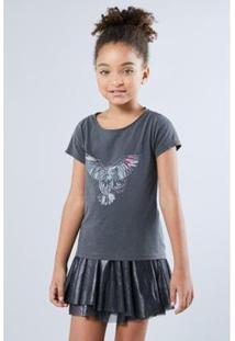 Camiseta Infantil Coruja Reserva Mini Feminina - Feminino-Chumbo