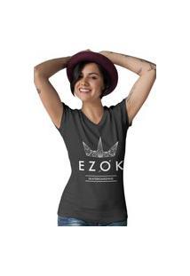 Camiseta Feminina Gola V Ezok Urban Preto