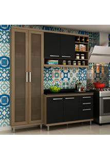 Cozinha Compacta New Vitoria 10 Avelã Tx/Onix - Hecol