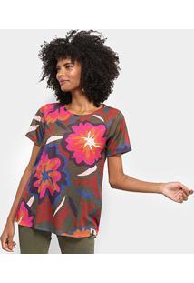 Camiseta Cantão Local Floral Bold Feminina - Feminino-Marrom Escuro