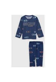 Pijama Elian Longo Infantil Carros Azul-Marinho