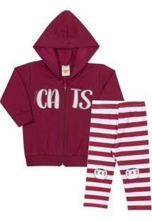 Conjunto Inverno Infantil Jaqueta Cats Moletom Com Capuz E Legging Em  Cotton Listrado Feminino - Feminino 9af7e992fb