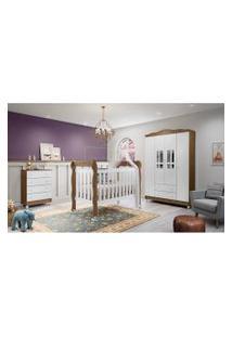 Dormitório Ariel - Guar. Roupa Ariel 4 Pts / Comoda Ariel 4 Gav / Berço Lila Amadeirado Branco