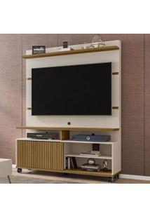 Estante Para Tv Até 52 Polegadas 1 Porta Pérola Off White/Cinamomo/Ripado - Móveis Bechara