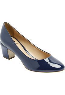 34151f14c3 Sapato Tradicional Com Tag- Azul Marinho- Salto  6Cmdumond
