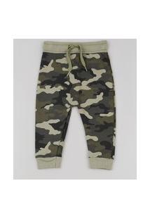 Calça Infantil Estampada Camuflada Em Moletom Com Cordão Verde Militar