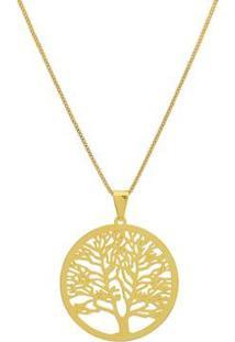 Colar Dona Diva Semi Jóia Árvore Da Vida Feminino - Feminino-Dourado