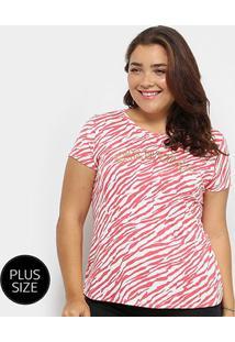 Camiseta Lecimar Plus Size Animal Print Zebra Feminina - Feminino