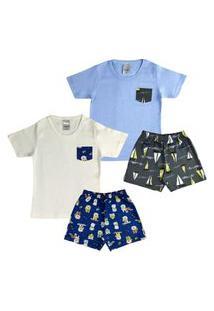2 Pijamas Curto Infantil Menino Roupa Criança Conforto