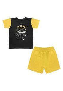 Pijama Juvenil Look Jeans Space Curto Amarelo