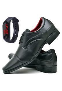 Sapato Social Fashion Com Relógio Led Fine Dubuy 832El Preto