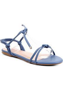 Rasteira Shoestock Tiras Nó - Feminino-Azul Petróleo