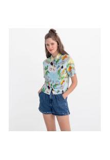Camisa Manga Curta Estampa Folhagens E Frutas | Blue Steel | Azul | P