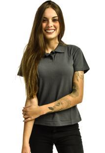 Camiseta Rich Young Pã³Lo Bã¡Sica Lisa Manga Curta Cinza - Cinza - Feminino - Dafiti