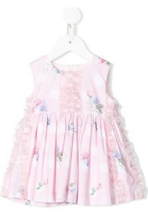 Lapin House Vestido Com Estampas E Detalhe De Babados - Rosa