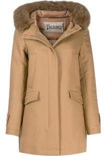 Herno Padded Fur Trim Jacket - Marrom