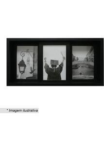 Painel Slide Para 3 Fotos- Preto- 19X38X6Cm- Kapkapos