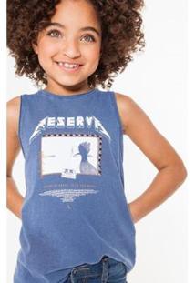 Camiseta Infantil Rock Metal Reserva Mini Feminina - Feminino-Azul Petróleo