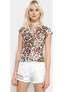 Camiseta Flora Zuu Animal Print Onça Feminina - Feminino-Branco+Marrom