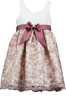 Vestido Pipoca Doce Shantung Com Tule Bordado Rosa