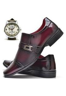 Sapato Social Masculino Asgard Com E Sem Verniz Com Relógio New Db 814Lbm Vermelho