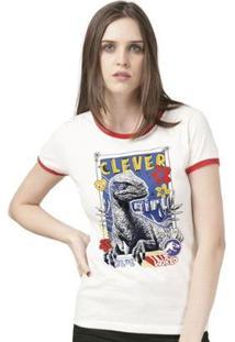 Camiseta Bandup Ringer Jurassic World Clever Girl - Feminino-Off White+Vermelho