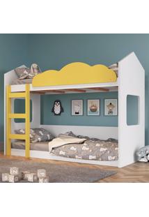 Beliche Infantil Casinha Com Escada Branco E Amarelo Lilies - Amarelo/Branco - Dafiti