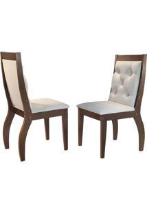 Cadeira Agata Veludo Creme Café