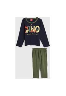 Pijama Tricae Longo Infantil Dinossauro Azul-Marinho/Verde