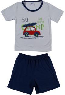 Pijama Curto Infantil Para Menino - Cinza/Azul Marinho