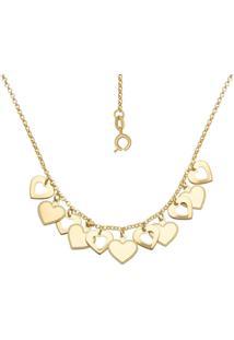 Gargantilha Prata Mil Com Corações Vazados E Lisos Dourado