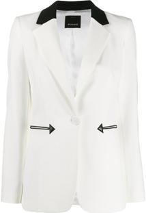Pinko Blazer Com Lapelas Contrastantes - Branco