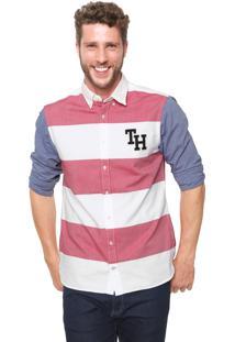 Camisa Tommy Hilfiger Reta Listrada Branca Azul Rosa 8884bc320e