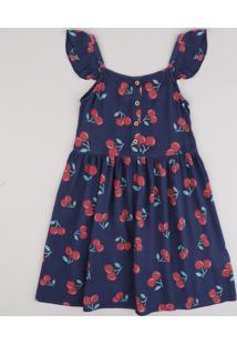 Vestido Infantil Estampado De Cereja Com Botões E Babado Alça Fina Azul Marinho