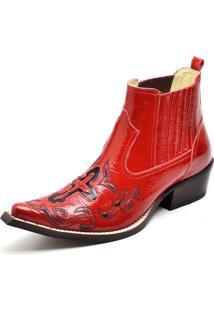 Botina Couro Cano Curto Bico Fino Bordado Gaspariano Calçados Vermelha