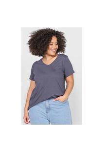 Camiseta Basicamente. Plus Size Lisa Grafite