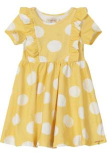 Vestido Amarelo Poá Com Babados