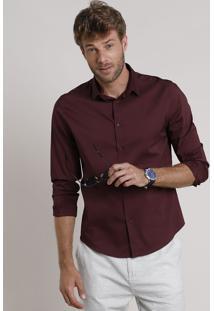 Camisa Social Masculina Slim Manga Longa Vinho