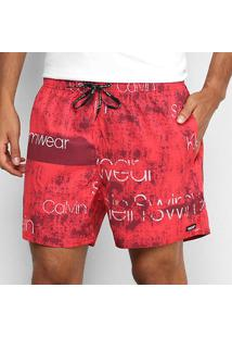 Bermuda Calvin Klein Estampada Masculina - Masculino-Vermelho