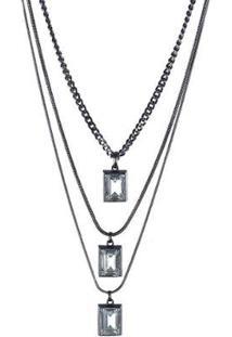 Colar Armazem Rr Bijoux Cristal Quadrado - Feminino
