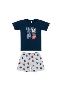 Pijama Infantil Menino Curto Malwee 1000088338 Azul Marinho