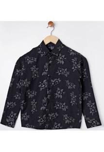 Camisa Floral Manga Longa Juvenil Para Menino - Preto