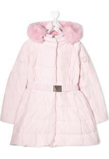Monnalisa Belted Puffer Coat - Rosa