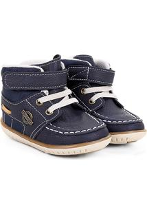 Sapato Infantil Klin Cravinho Cano Alto Masculino - Masculino-Marinho