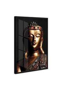 Quadro 75X50Cm Estátua De Buda Moldura Com Vidro Decorativo Interiores - Oppen House