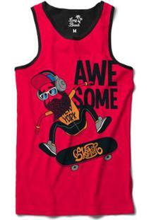 Camiseta Regata Long Beach Barba Nollie Heel Sublimada Masculina - Masculino -Vermelho adf53340be9