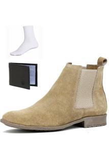 Bota Chelsea Boots Botina Confortável Escrete Couro 777 Areia Com Brinde - Kanui