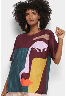 Camiseta Cantão Dalila Feminina - Feminino-Vinho